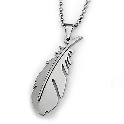 Unisex Stainless Steel Feather Pendant Beads Chain Jewelry Necklace (Silver)