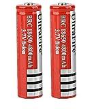 18650 Batería recargable de iones de litio de 3,7 V 4800 mAh Prácticas baterías de litio Respetuoso con el medio ambiente para linterna LED, dispositivos electrónicos, etc. 2/4 piezas (rojo) (2 pcs)
