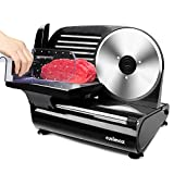 """Meat Slicer, CUSIMAX Electric Food Slicer with 7.5"""" Removable Stainless Steel Blade and Food Carriage, Cheese Fruit Vegetable Bread Deli Food Slicer, Adjustable Knob for Thickness-Upgraded Version"""