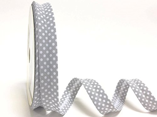 Fany Grey Polka Dot - Cinta al bies (18 mm, 3 m de Longitud), diseño de Lunares, Color Gris