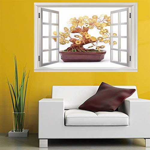 Leoljc Geld Baum 3D Gefälschte Fenster Mädchen/Junge Schlafzimmer Wandtattoo Aufkleber Kunst Vinyl Wandaufkleber Kinderzimmer Wohnzimmer (50X70 Cm)