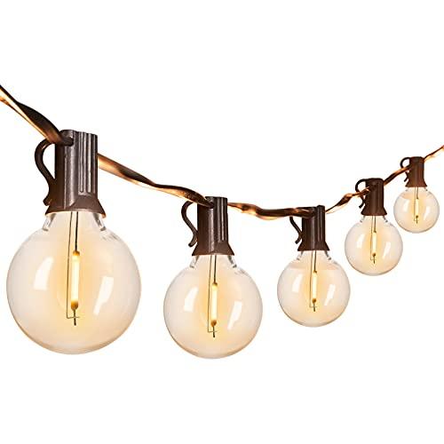 LED G40 Outdoor String Lights 16.2 M/ 53 Feet Patio Lights with 50 LED Shatterproof Bulbs, Weatherproof Commercial Hanging Lights Backyard Bistro Deck Party Decor, E12 Socket, 2200K, Black