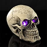 LED Skull Statue Light for Halloween Bar Table Decor, Night Light Resin Skull Prop Horror Haunted House Party Ornament Decoration with LED Light Up Eyes Desk Lamp for Cool Holiday or Birthday Gift