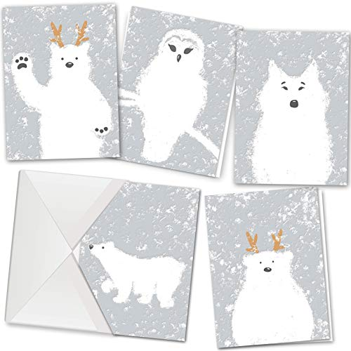 36 Christmas Holiday Greeting Cards Collection in 5 Unique Festive White Designs with Envelopes for Winter Christmas Season, Holiday Gift Giving, Xmas Cute Cards
