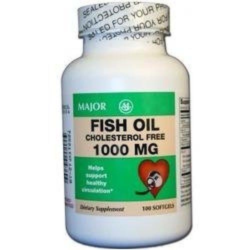 Major Fish Oil Cholesterol Free 1000MG 100 Soft Gels (6 Pack)