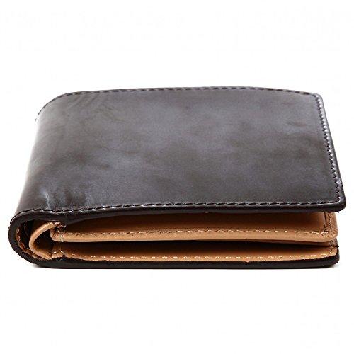 『[ラファエロ] ブライドルレザー 二つ折り財布 メンズ (チョコ)』の7枚目の画像