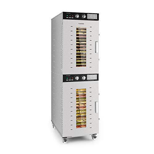 Klarstein Master Jerky 32 - Deshidratador de alimentos, 4500W de potencia, 32 estantes, 5 m² de capacidad, Temperatura ajustable, DigiSet Control, NutritionPlus, Uso profesional, Plateado