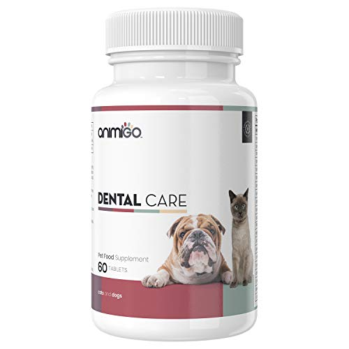 Animigo Zahnpflege Tabletten für Hunde & Katzen - 100% natürlich & laborgeprüft - Zahnreinigung & Zahnstein entfernen bei Katze & Hund - Zahnfleisch Unterstützung - Gegen Mundgeruch - 60 Tabletten