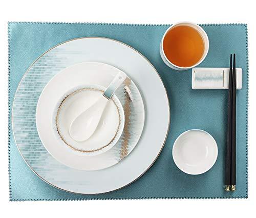 ASYCAN Cerámicas de vajilla Occidental Bone Cena de China Establece Bowl Cian Estilo Chino Diseño de Procesos y Relieve de Porcelana Conjunto combinación de (Size : 10-Piece Set)
