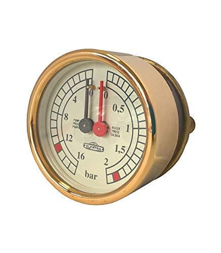 Manometer Kalendarien POMPA D.60 0-2/0-16 BAR Farbe gelb/gold Für Elektra Kaffeemaschinen (BELLE EPOQUE, SIXTIES) Artikel chisko it: 1VP4964