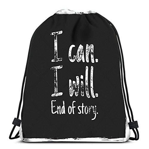 BOUIA Zaino con Coulisse Zaino Preventivo I Can I End I of End of Story Zaini da Viaggio E Grunge Tote Zaino Scuola