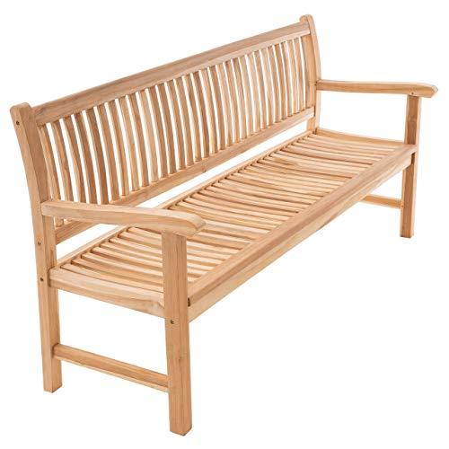 Divero 3-Sitzer Bank Holzbank Gartenbank Sitzbank 180 cm – zertifiziertes Teak-Holz unbehandelt hochwertig massiv – Reine Handarbeit – wetterfest (Teak Natur)