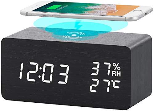 infactory Handy Zubehör: 2in1-LED-Wecker & Qi-kompatible Ladestation mit Temperaturanzeige (Qi Ladegerät)
