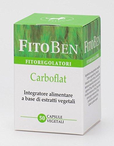 Fitoben - Carboflat Integratore Alimentare Naturale con Finocchio, Camomilla, Papaina e Carbone. Per Digestione Ed Eliminazione Di Aria Intestinale 50 Cps vegetali