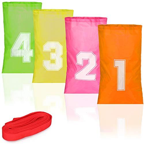 com-four® 4X Hüpfsäcke für Kinder - Sackhüpfen Spiele-Set mit Start- & Ziellinie - Nummerierte Hüpfsäcke für Kindergeburtstag, Sportfest, Strand und Garten