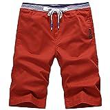 Jogger Shorts Shorts Verano para Hombre Pantalones Casuales Coreanos de 5 Pulgadas Pantalones de Playa de pureza Media Moda S Orangered