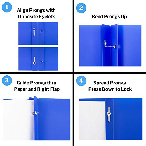 Dunwell Pocket Folders with Prongs - (12 Pack of Blue Folders) Heavy Duty Plastic Folders with Fasteners, 2-Pocket Folders for School, Letter Size Color Folders with Pockets, Includes Removable Label Photo #5