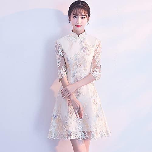 CIDCIJN Vestito Cinese Slim Donne Ricamo Fiore Cheongsam Tradizionale Sposa Cinese Matrimonio Qipao Abito Migliorato Qipao, Stile 6,XXL