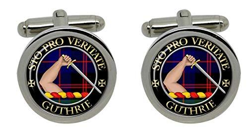Uglymug Clan écossais homme Guthrie Emblème Chrome Boutons de manchette avec coffret cadeau