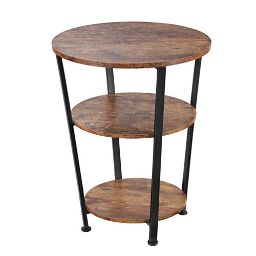 DREAMSOULE Industrial End Table, 3 Tiers Round Side Table with Sturdy Metal Frame, Round Sofa Table, Vintage Nightstand for Living Room Bedroom, Easy Assembly, Wood Look Accent Furniture