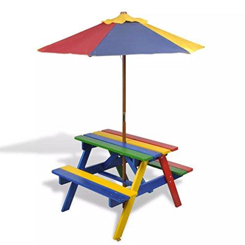 AYNEFY- Mesa plegable de picnic infantil con bancos y sombrilla, de madera,...