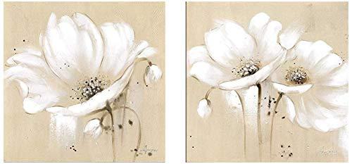 Surfilter Impreso en lienzo Flores grandes Lienzo Arte Pinturas de pared Decoración para el hogar Flores abstractas blancas Impresiones de arte Cuadros modernos para sala de estar 40x40cm/15.7x15