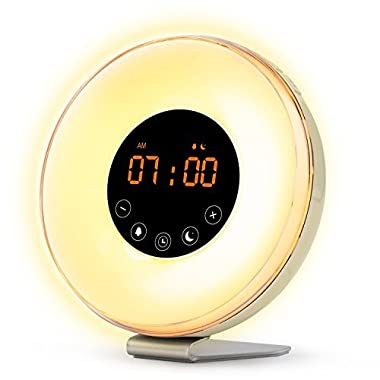 Sunrise Wake Up Light Digital Alarm Clock – [2018 Upgraded] 6 Natural Sounds, FM Radio, Sunrise and Sunset Simulation, Touch Control with Snooze Function, 8 Color Night Light for bedside and kids