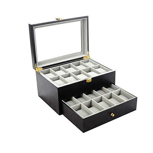 Feibrand Uhrenbox für 20 Uhren Uhrenkasten Schwarz Holz
