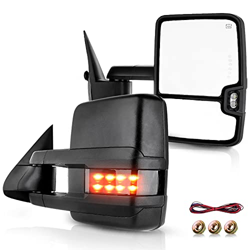 ECCPP Towing Mirrors Replacement fit for 1999-2002 Silverado Sierra Power Heated Smoke Led Signal Pickup Mirrors