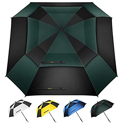 Heasy Extra Large Golf Umbrella 54/62 Inch Double Canopy Vented Square Umbrella Windproof Automatic Open Oversize Stick Umbrellas for Men and Women