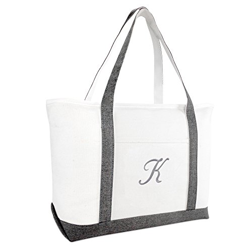 DALIX Beach Tote Bag Personalized Gifts for Women's Shoulder Bags Gray K