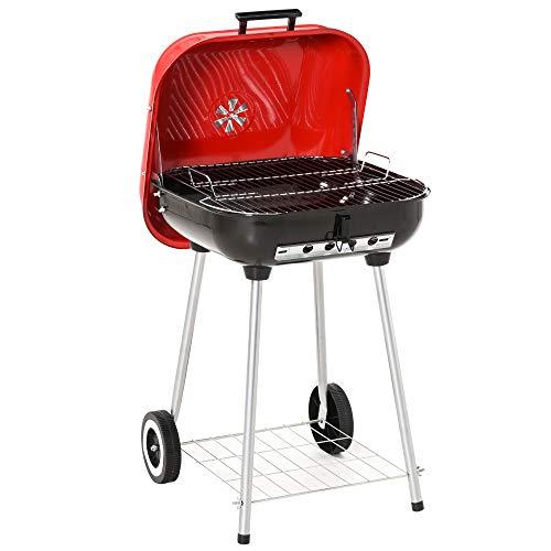 Outsunny Barbecue a Carbonella BBQ Grill con Coperchio e Ruote 45×47.5×70cm