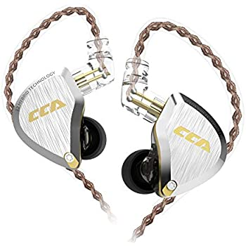 CCA C12 5BA+1DD in Ear Monitor,HiFi Bass in Ear Earphone, IEM Wired Headphones, HiFi Stereo Sound Earphones Noise Cancelling Ear Buds with 6 Balanced Armature Drivers 0.75mm 2pins Cable(No Mic,Gold) …