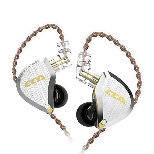 CCA C12 in-Ear Earphone,Zinc Alloy Faceplate Resin Cavity in Ear Monitor, Wired IEM Sport Earphone HiFi Stereo Bass Gaming in Ear Hearphone,Ultra Clear Sound for Workout,Running,Gym(Gold with mic …