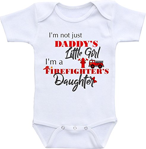 Firefighter Baby Clothes I'm not just Daddy's Little Girl I'm a Firefighter's Daughter (3 Months) White