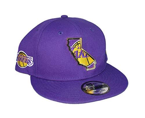 New Era Los Angeles Lakers Anthony Davis #3 Embroidered Facsimile Autograph Snapback Adjustable Metal State Logo Hat Cap - Purple