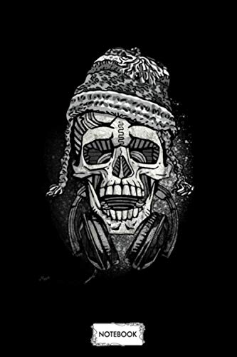 Snowboarder Skull With Headphones And Beanie Notebook: Journal, Diary, 6x9 120 Pages, Planner, Lined College Ruled Paper, Matte Finish Cover