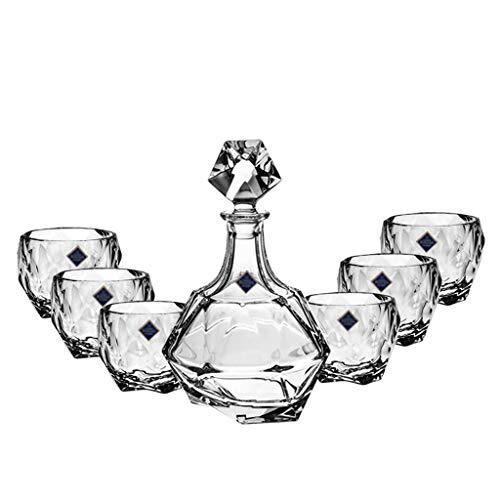 Xuan - worth having Copas de Vino 7 Piezas de Vidrio de Cristal Creativo Copa de Vino sin Plomo Juego de Jarra de Cristal Botella decantadora para el hogar con Tapa