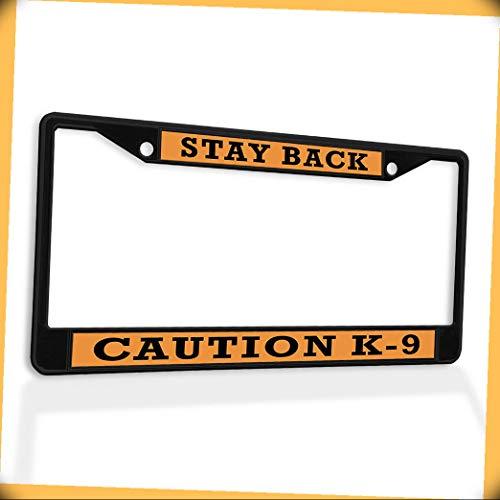 New Metal Aluminum Alloy Black B4K License Plate Frame Insert Stay Back Caution K-9 Dog Police A Frame #FSt-02179B4K Warranity by PrMch