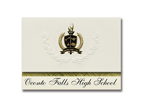 Signature Announcements Oconto Falls High School (Oconto Falls, WI) Graduation Announcements, Presidential style, Basic package of 25 with Gold & Black Metallic Foil seal