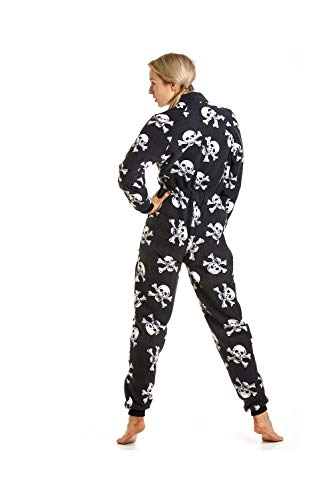 Camille Damen Schlafanzug-Einteiler aus Fleece - Totenkopf-Print Schwarz und Weiß - Größen 38/40 (Small)