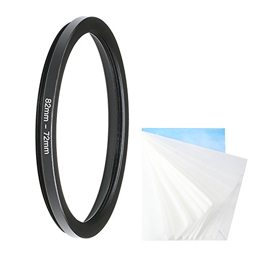CamRebel 82-72MM Step-Down Ring Adapter (Filter or Accessory) with 45 Pieces Soft Lens Wipe Paper (82-72mm)