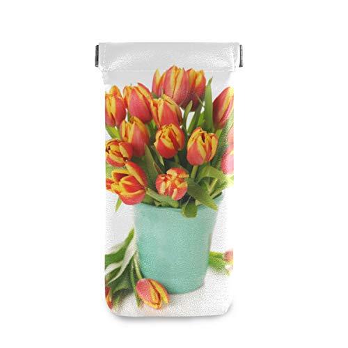 XiangHeFu Multiuse bewaarhouder brillenzakje Mooie boeket tulpen in vaas zonnebriletui draagbare brillenkoker