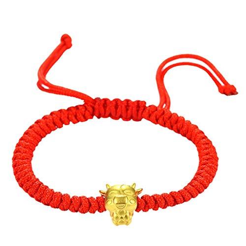 VVXXMO Pulsera de cuerda roja de vaca dorada de Mascot Five Fortunes, regalo de año nuevo chino para festival, pulseras de bendición de la suerte