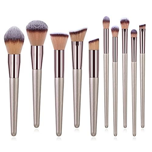 Anjing Lot de 10 pinceaux de maquillage synthétiques Kabuki - Manche en bois - 13,8 x 18,7 cm
