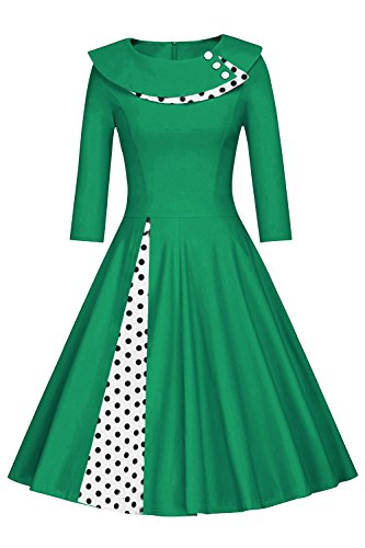 MisShow Damen Vintage Kleid 50er Jahre lamgarm Rockabilly Kleid Festlich Kleid Faltenrock Gepunkt Knielang- Gr. M, Grün