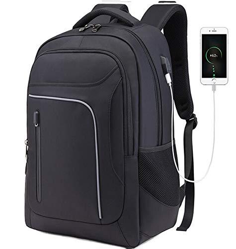 Sac à Dos d affaires pour Hommes Junior High School Schoolbag Sac de Voyage pour Ordinateur de Loisirs Voyage Sac à Dos pour Ordinateur Portable avec Connexion de Charge USB (Black)