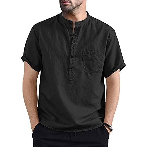 Camicia da Uomo Manica Corta Camicia Uomo Slim Fit in Cotone Lino Magliette Estivo Uomo Elegante Casual (M-3XL) (Nero, XXL)
