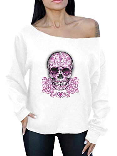Awkward Styles Awkwardstyles Skull Pink Roses Off The Shoulder Oversized Day of Dead Sweatshirt 2XL White
