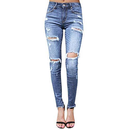 Vaqueros Rotos Mujer Pantalones Lápiz Ajustados Pantalones Largos Casual Cintura Alta Pantalones Pitillos Elásticos Push Up Jeans de Mujer Otoño Invierno RISTHY